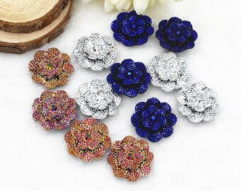 5 beautiful flower resin cabochons brilliant 3 colors, about 25mm