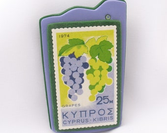 Cyprus Postage Stamp Brooch 1974 Cyprian Grapes Stamp Pin Postal Souvenir Jewelry