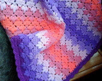 Crochet Baby Blanket Purple Pink blanket Baby Shower Gift Cover for Baby Girl Crib Blanket New baby gift  Will be made JUST FOR YOU