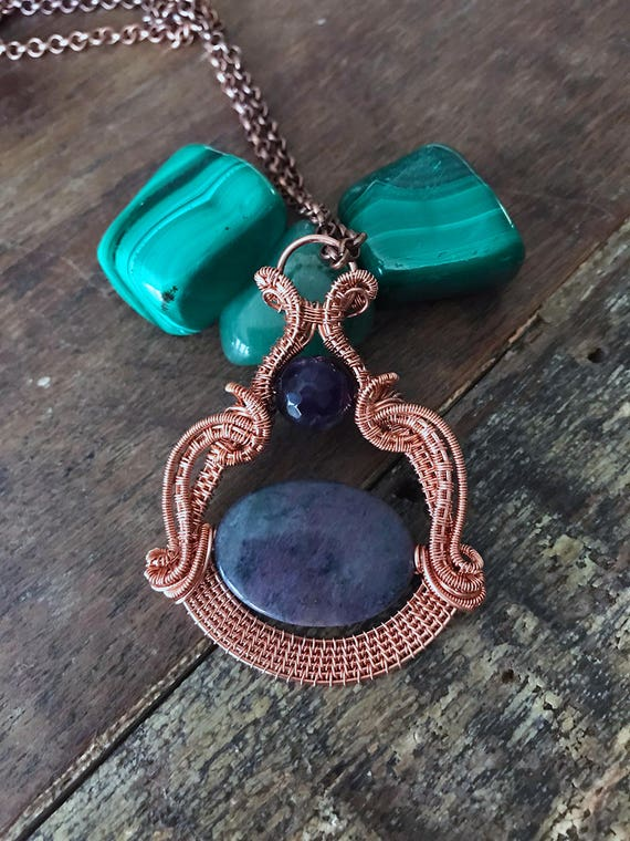 Amethyst and African Pastel Dumortierite  Natural Gemstone Necklace