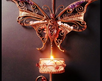 Wire wrapped Butterfly candle holder with gemstones