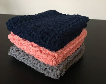 Three handmade dishcloths // crochet dishcloths // hand knit dish cloths // crochet dishcloth // dish towel