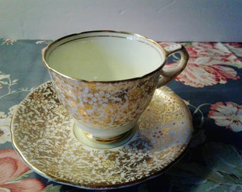 Royal Stafford Spring Green and Gold Cup and Saucer
