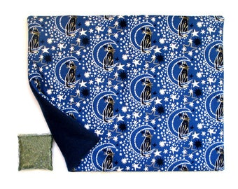 Catnip Mat plus Catnip  Black Cats in Midnight Sky Moon Stars  Refillable Reversible