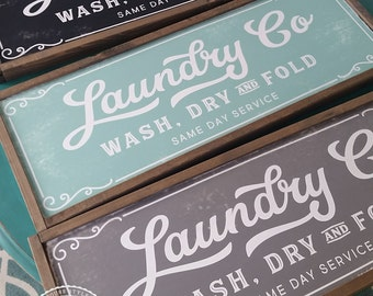 Laundry Co Sign Wash Dry and Fold Sign Magnolia Fixer Upper Joanna Gaines