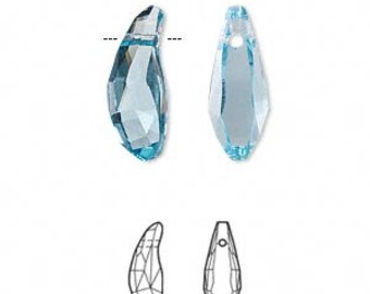 18mm Aquamarine Swarovski Aquiline Drop Crystals - Aquamarine Blue - Top Drilled - Pack of 2