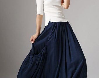 Womens Skirts-Maxi Skirt-Long Skirt-Linen Skirt-Pleat Skirt-Woman Skirt-Pleat Maxi Skirt-Full Skirt-Summer Skirt-Long Linen Skirt 1045