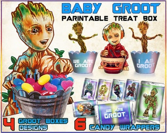 Baby Groot birthday party, Guardians of the galaxy party, I am Groot, we are Groot, Groot printable treat box, candy, cupcake wrappers