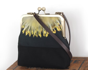 Yellow sunburst flower shoulder bag, leather strap, cross-body kisslock purse frame, catkins