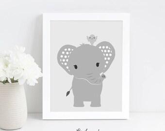 Elephant Nursery Wall Art, Safari Baby Shower Gift, Modern Nursery Art, Digital Download Art, Printable Nursery Art, Neutral Nursery Decor