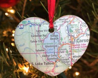 Lake Tahoe Map Ornament