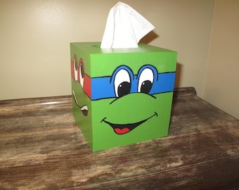 Hand painted Ninja Turtle tissue box cover