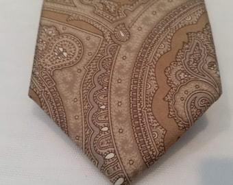 Vintage Pure Silk Harve Benard Neck Tie. Tan Color With Abstract design Silk Neck Tie.