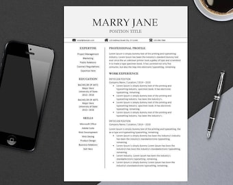 Modern Professional Resume Template for MS Word   Minimal Resume Design   CV Template Example Design   Instant Download   Easter MARRY
