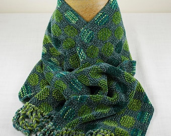 Greens and Gray Reversible Circles Rayon Chenille Scarf