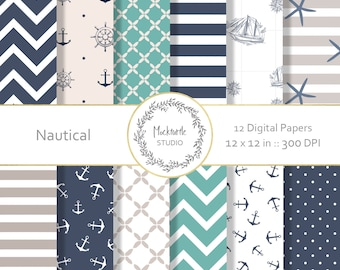 Nautical digital paper - Nautical clipart - Scrapbook paper, Ocean Digital Paper, Anchor Digital Paper, Commercial use