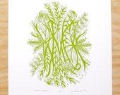 "Woodblock Print - ""Peaceful Prairie"" - Green Native Flowers - Plant Print"