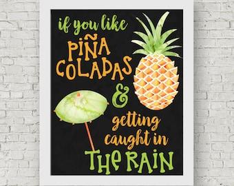 Pina Coladas Song Lyrics,  Printable Wall Art, If You Like Pina Coladas And Getting Caught In The Rain