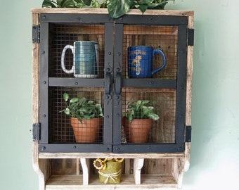 Reclaimed Wood Rustic Wall Cabinet, Bathroom Wall Cabinet, Kitchen Cabinet, Rustic Wall Cabinet