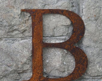 Flat Metal Rusty Letter B / Metal / Letter / Garden / Industrial / Vintage / Rustic / Floral / Gift / Wedding / Home / 25cm