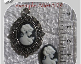 2 CAMEOS in RELIEF CABOCHON woman black & white 18 x 13 mm * A129