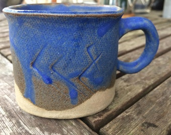 Royal Blue Coffee Cup Group,unique,handmade,ceramic ,pottery, coffee, tea cup, gift, housewarming ,
