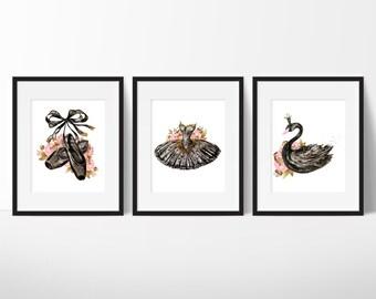 Ballet Dancer Print - Black Swan Print - Ballerina Art - Fashion Wall Art - Teen Girl Room Decor - Fashion Art - Teen Girl Gift Under 20
