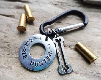Zombie Hunter Keychain, Zombie Washer Keychain,  Zombie Bones Black Carabiner, Stamped Aluminum Silver Keychain Key Ring