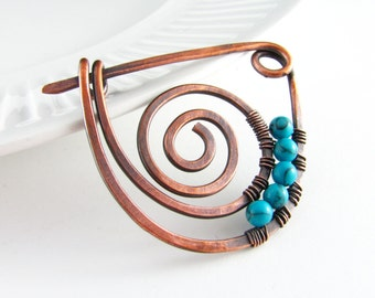 Shawl Pin Copper Wire Turquoise Scarf or Sweater Pin Fibula Wire Wrapped Jewelry Hammered Copper Brooch