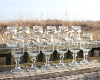 12 Mason jars, 6 Redneck Wine Glasses , 6 mason jar mugs, Wedding Party, Mason Jars