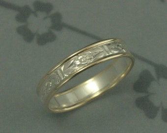 Two Tone Wedding Ring--Romance in the Garden Touch of Gold Ring--Bimetal Band--Patterned Silver Ring--14K Gold Edges