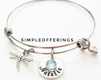 Dragonfly Bangle, DragonFly Bracelet, Dragonfly Jewelry, Personalized bracelet, Gift for best friend, Gift for her, DragonFly Charm bracelet