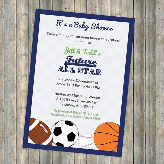 Baby boy shower invitations All Star Invite Sports themed