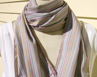 Stripe Scarf Pink Pearl Gray Melon Stripe Cotton Fringe