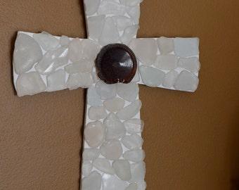 Glass Cross, beach glass cross, sea glass cross, beachglass art, wall cross, rustic cross, religious art, seaglass art, confirmation gift