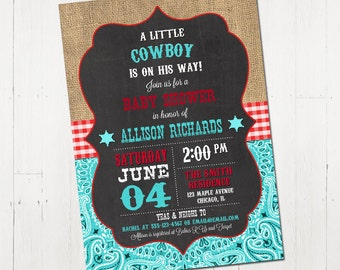 Cowboy baby shower invitation, cowboy baby shower, western baby shower, red, teal, turquoise, little cowboy shower, Printable Invitation