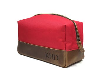 Personalized Dopp Kit - Mens Toiletry Bag- Red Canvas & Crazy Horse Leather
