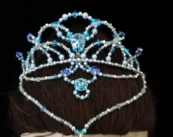 Professional ballet headpiece,ballet tiara,silver blue tiara,blue tiara,Blue Bird tiara,Swarovski Le Corsaire,The pharaoh's daughter,