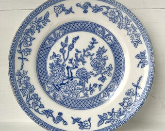 Chinese-style blue & white side plate with guilt edge