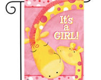 It's A Girl Garden Flag Giraffes Baby Shower