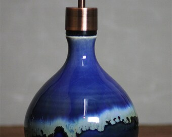 Handthrown Stoneware Soap Lotion Dispenser Pump Snowflake Blue round