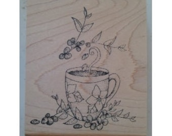 Coffee Bean Aroma Cup Rubber Stamp - 171M05