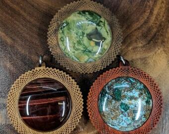 Square Vortex 30mm Gemstone Hardwood Pendant - Crystal Gem Custom Sacred Geometry Laser Cut Natural Wood Wooden Cabochon
