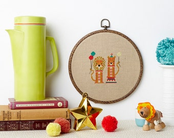 Lollipop Lions modern cross stitch pattern PDF download - includes chart and instructions - cute vintage circus lion theme