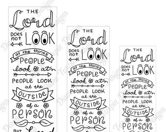 Bible Journaling Verse Art - Margin Art - Bookmark featuring I Samuel 16:7