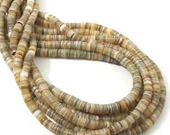 Kabibe Shell Beads, 4mm - 5mm, Gray/Peach, Heishi, Thin, Small, Philippine, Natural, Multi Colored, Extra Long 24 Inch Strand - ID 2068