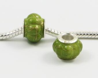 3 Beads - Green Gold Lantern Paint Acrylic Silver European Bead Charm E0261