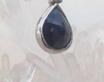 Natural Sapphire, Diamond, 14k white Gold
