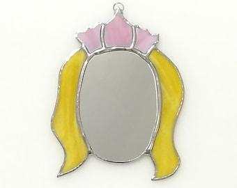 Stained Glass Mirror, Magnetic Mirror, Princess Mirror, Wall Mirror, Locker Mirror, Refrigerator Magnet Mirror, Girl Gift, Girls Room Decor