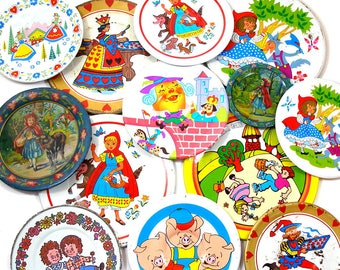 SALE 13 Tin Toy tea saucers. Storybook, fairy tales. Instant Collection. Ohio Art Co. Vintage Decor.